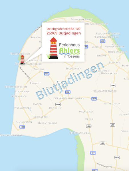 Anfahrt Ferienhaus Ahlers Tossens